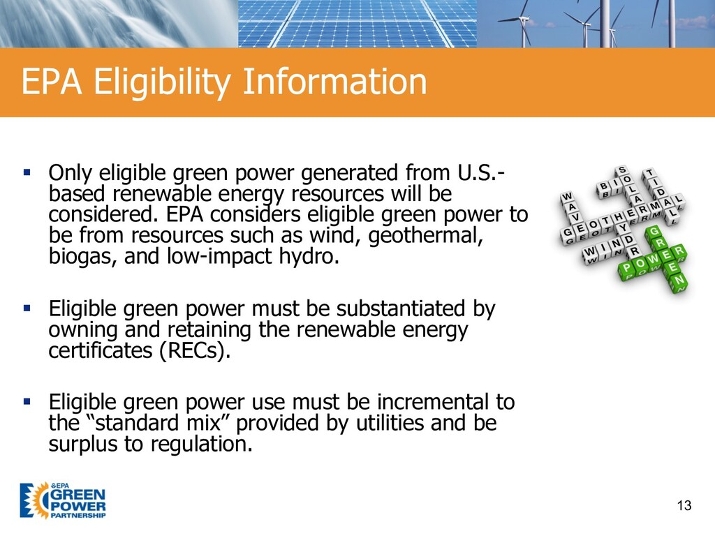 § Only eligible green power generated from U.S....