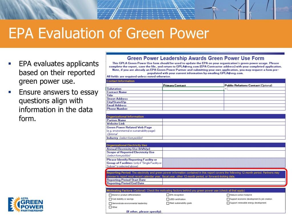 15 EPA Evaluation of Green Power 15 § EPA evalu...