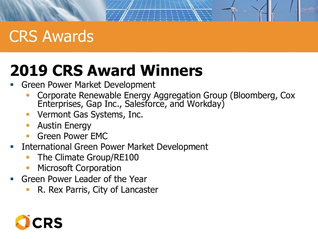 2019 CRS Award Winners § Green Power Market Dev...