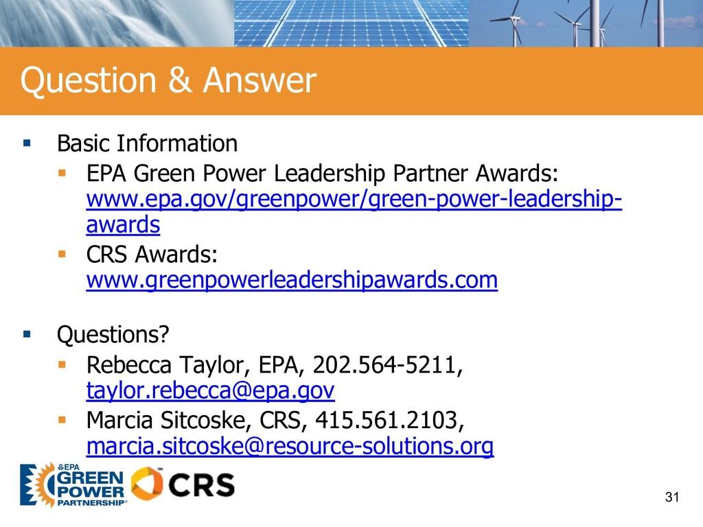 § Basic Information § EPA Green Power Leadershi...