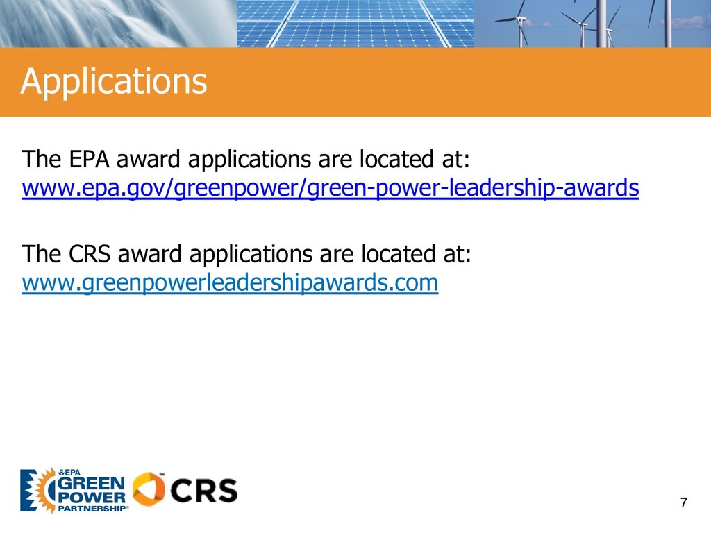 The EPA award applications are located at: www....