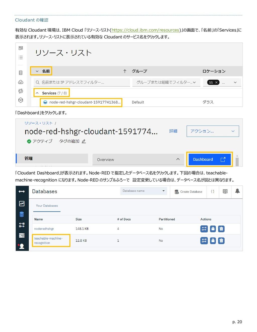 p. 20 Cloudant の確認 有効な Cloudant 環境は、IBM Cloud 「...