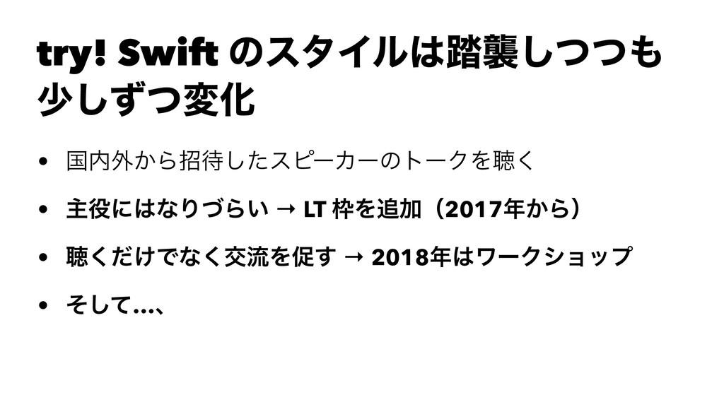 try! Swift ͷελΠϧ౿ऻͭͭ͠ গͣͭ͠มԽ • ࠃ֎͔Βটͨ͠εϐʔΧʔ...