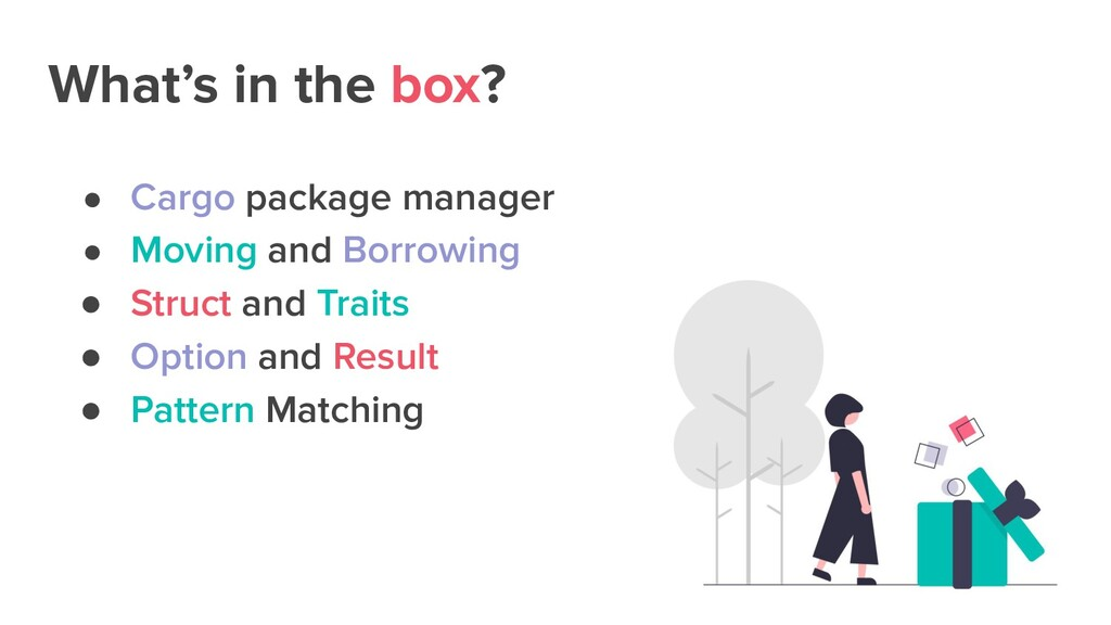 What's in the box? ● Cargo package manager ● Mo...