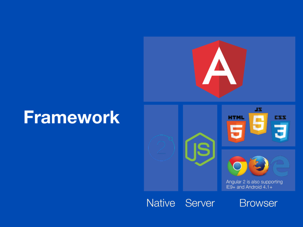 Framework Angular 2 is also supporting IE9+ and...