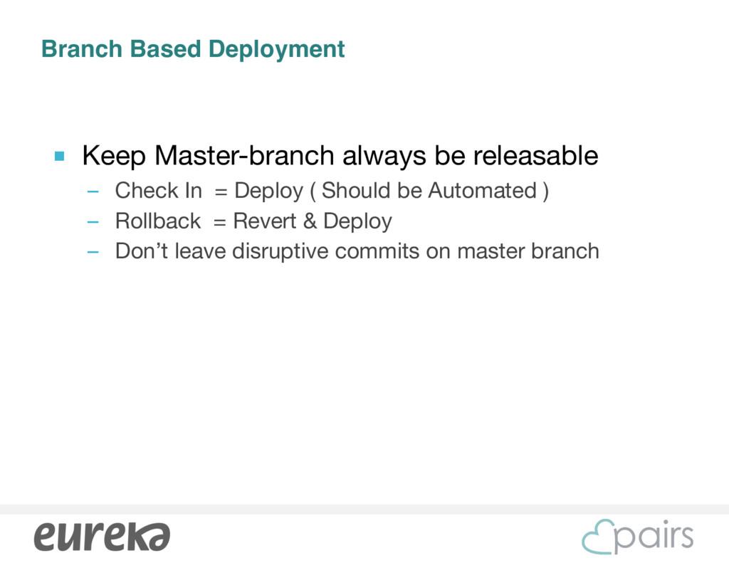 Branch Based Deployment ■ Keep Master-branch al...