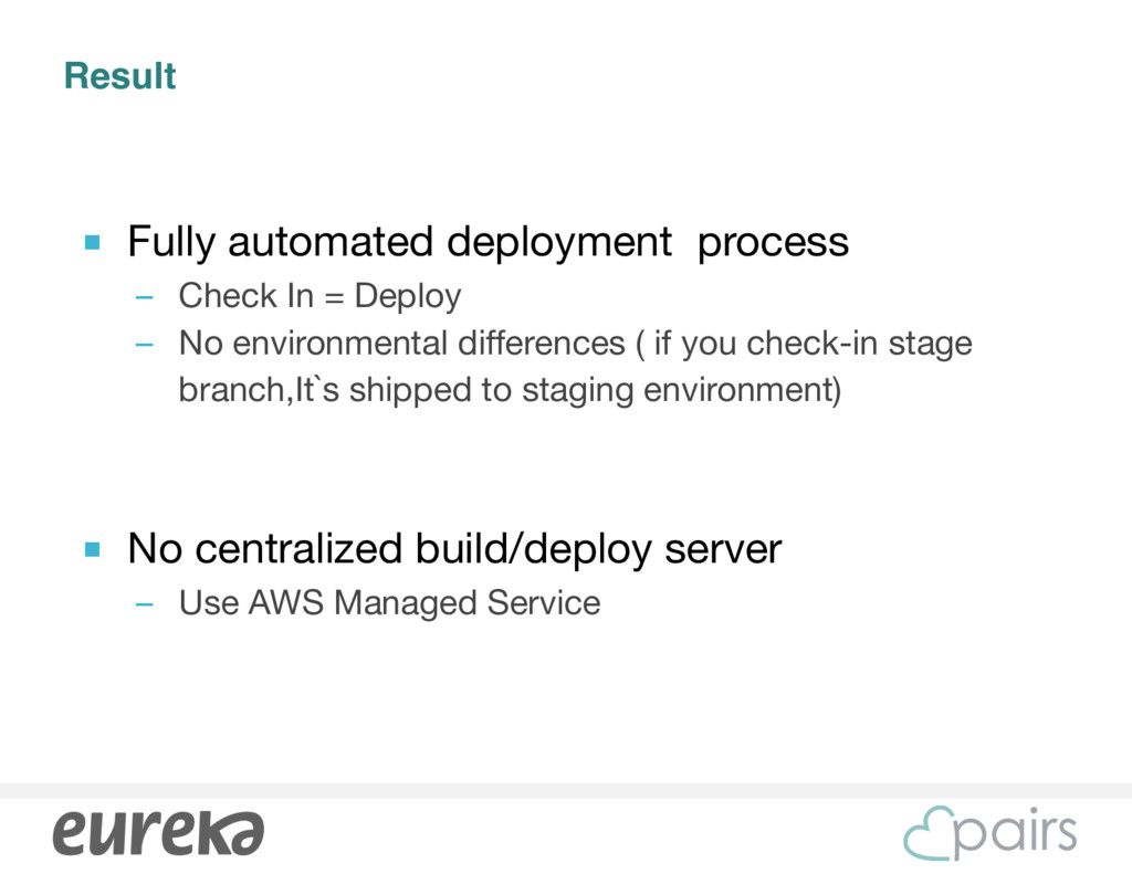 Result ■ Fully automated deployment process  – ...