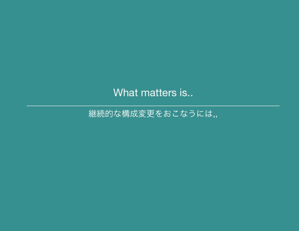 What matters is.. ܧଓతͳߏมߋΛ͓͜ͳ͏ʹ,,