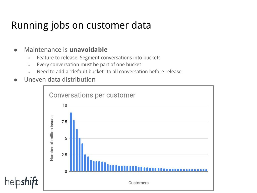 Running jobs on customer data ● Maintenance is ...