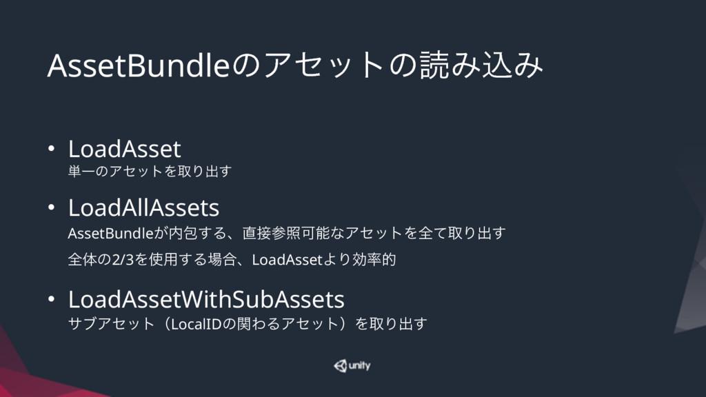 AssetBundleͷΞηοτͷಡΈࠐΈ • LoadAsset ୯ҰͷΞηοτΛऔΓग़͢...