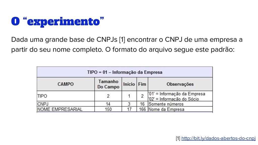 """O """"experimento"""" Dada uma grande base de CNPJs [..."""