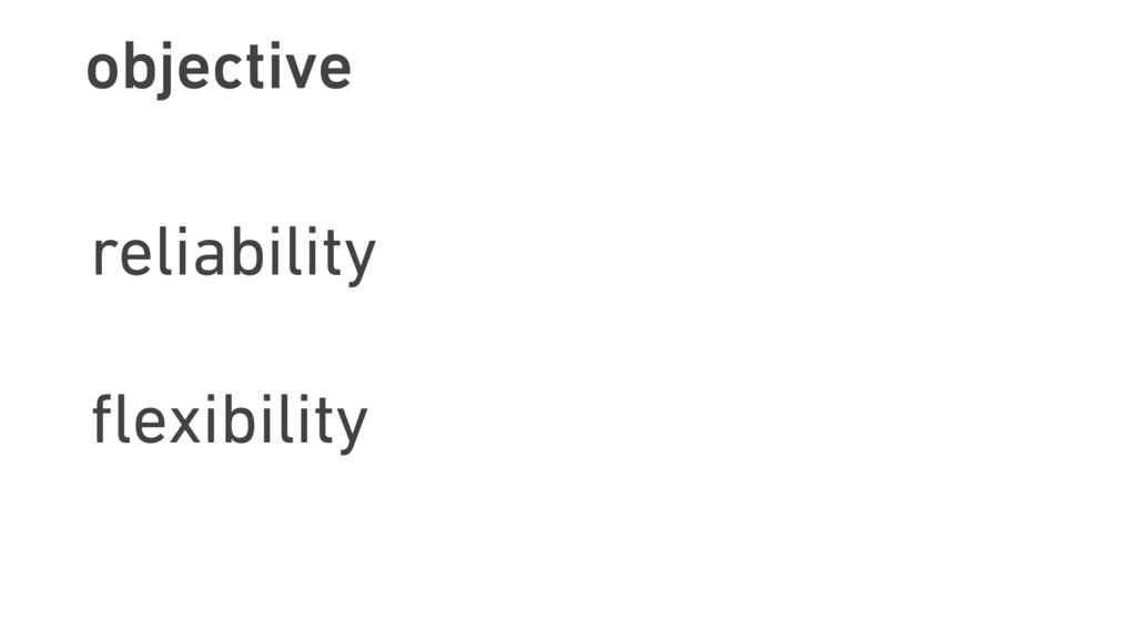 objective reliability flexibility