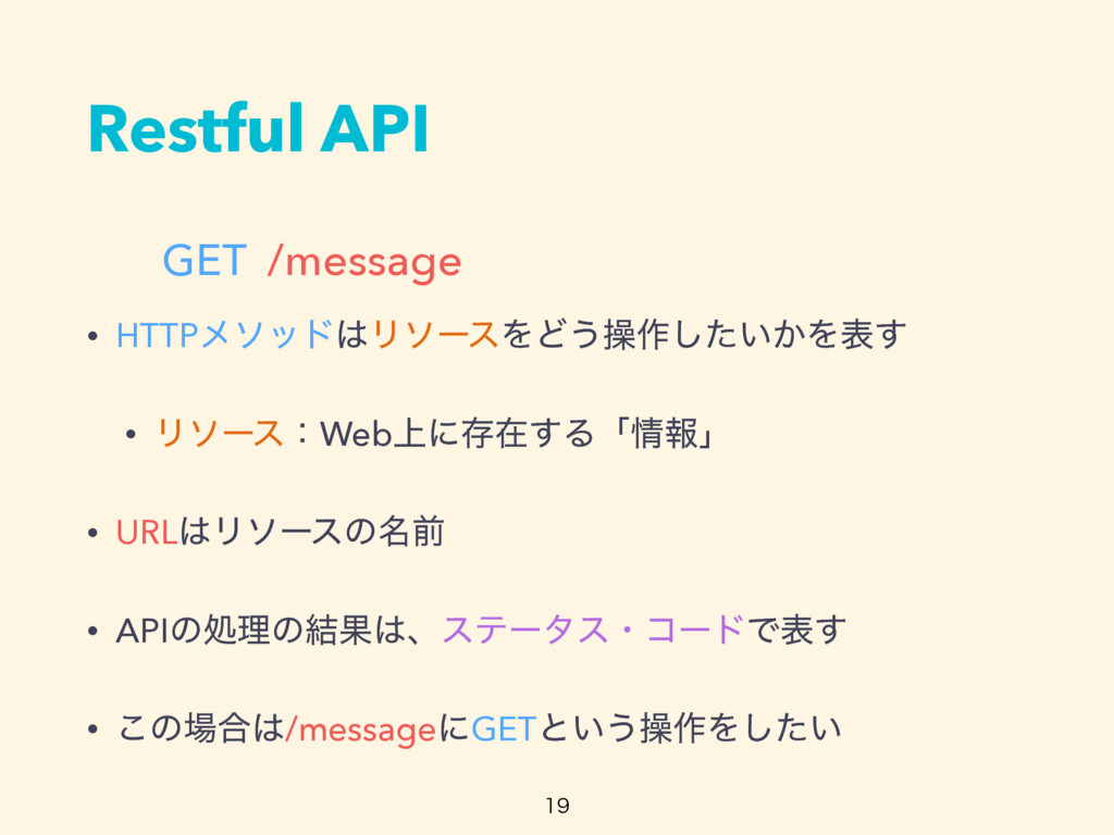 Restful API GET /message  • HTTPϝιου͸ϦιʔεΛͲ͏ૢ...