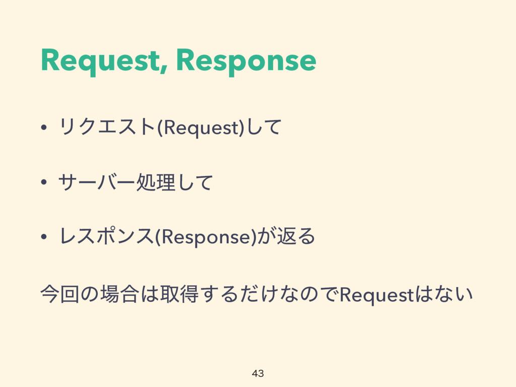 Request, Response • ϦΫΤετ(Request)ͯ͠ • αʔόʔॲཧͯ͠...