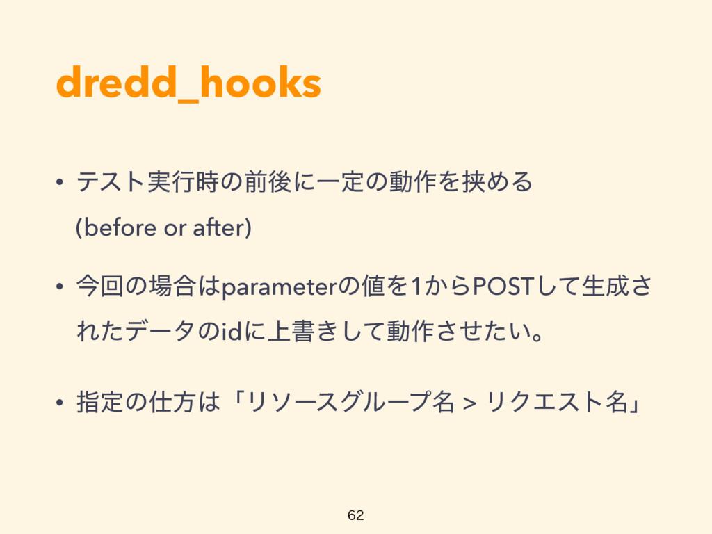 dredd_hooks • ςετ࣮ߦͷલޙʹҰఆͷಈ࡞ΛڬΊΔ (before or a...
