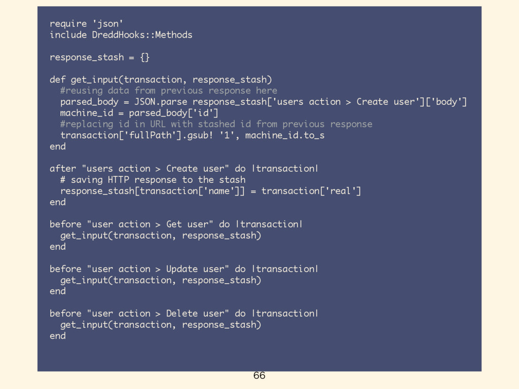 require 'json' include DreddHooks::Methods r...