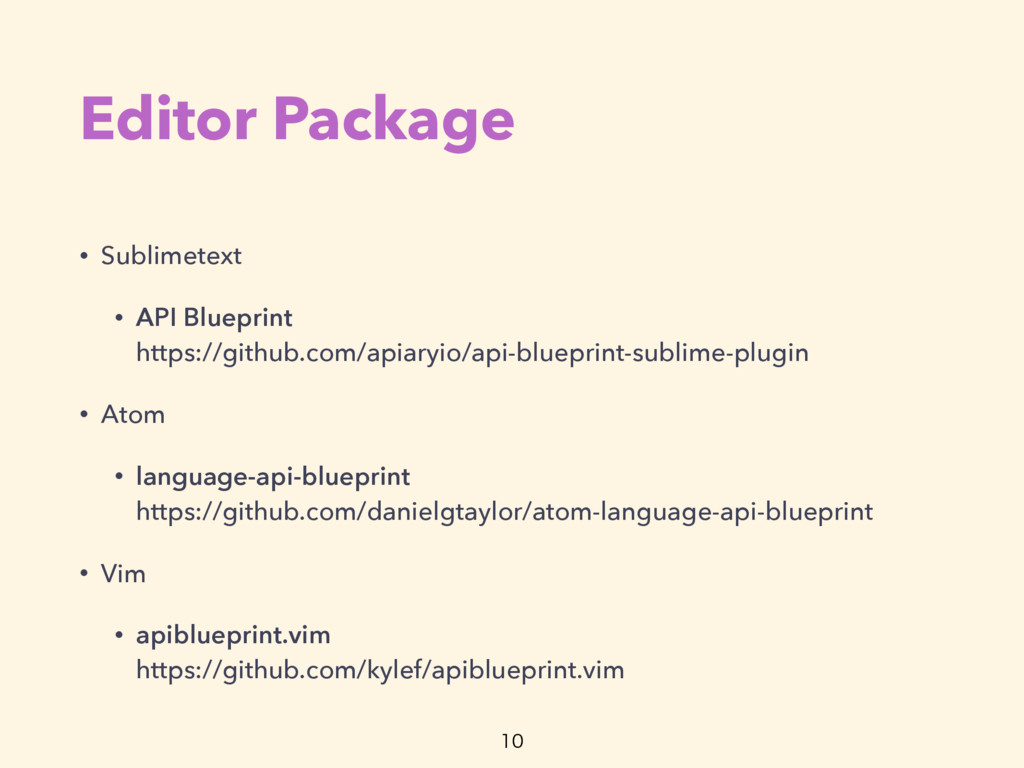 Editor Package • Sublimetext • API Blueprint