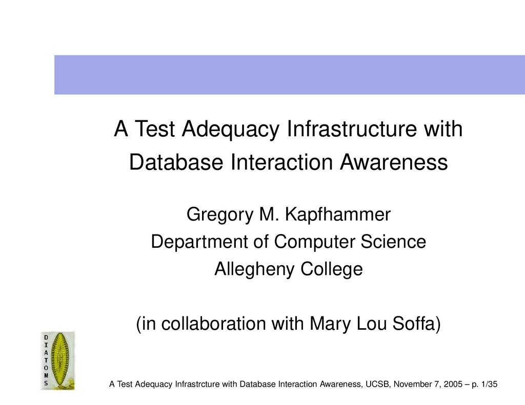 A Test Adequacy Infrastructure with Database In...
