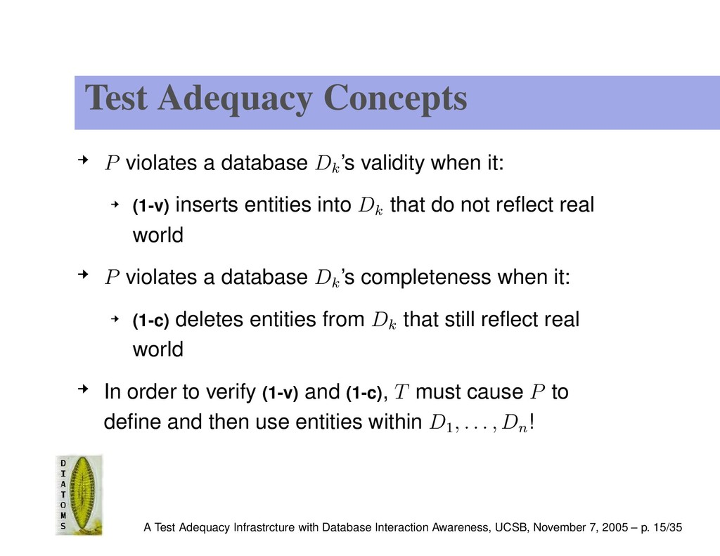 Test Adequacy Concepts P violates a database Dk...