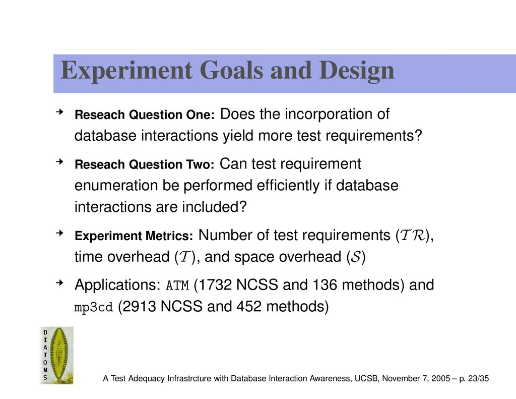 Experiment Goals and Design Reseach Question On...