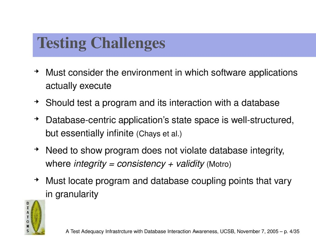 Testing Challenges Must consider the environmen...