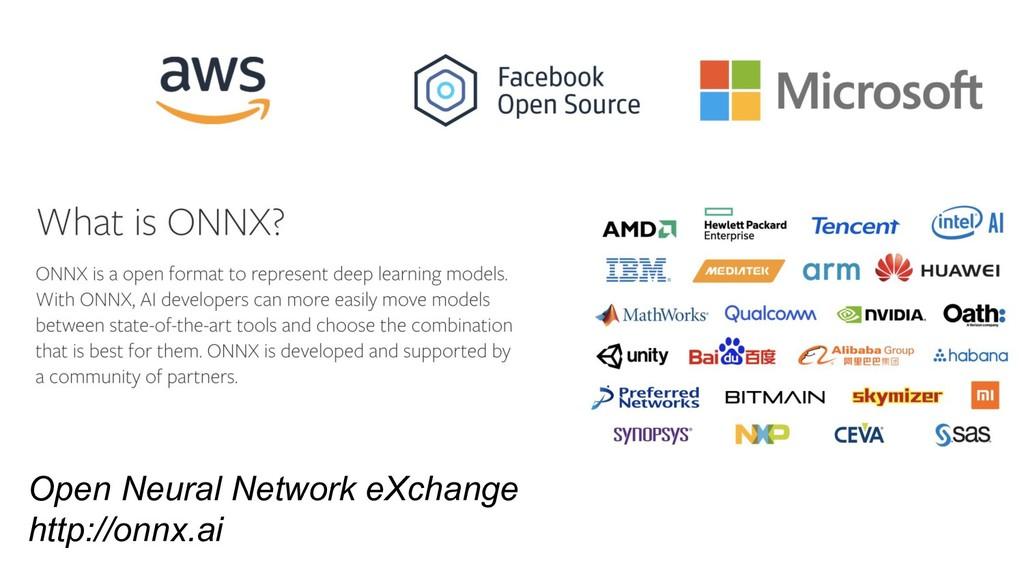 Open Neural Network eXchange http://onnx.ai