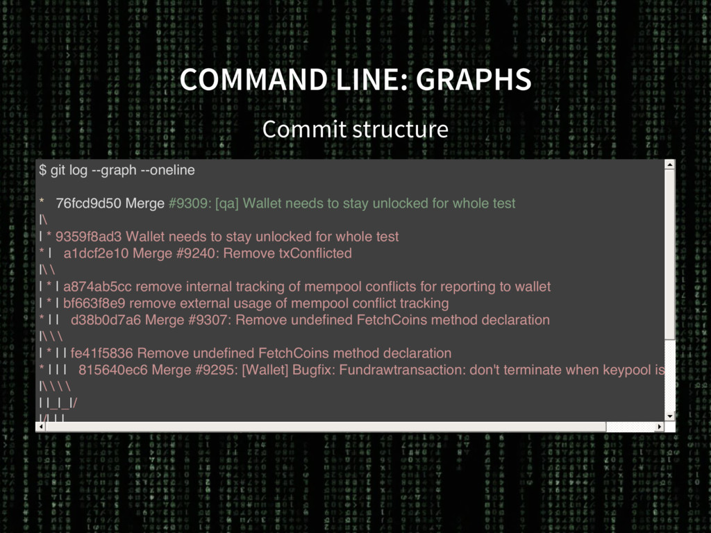 COMMAND LINE: GRAPHS Commit structure $ git log...