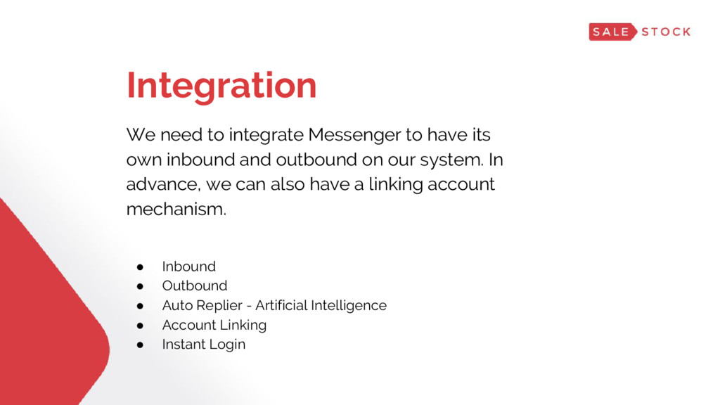 Integration We need to integrate Messenger to h...