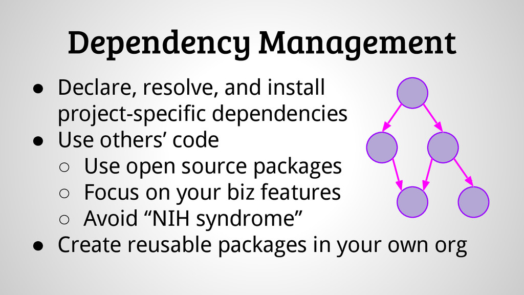 Dependency Management ● Declare, resolve, and i...