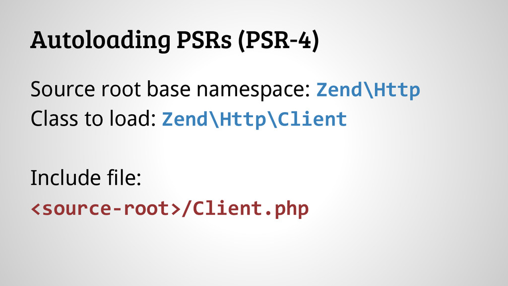 Source root base namespace: Zend\Http Class to ...