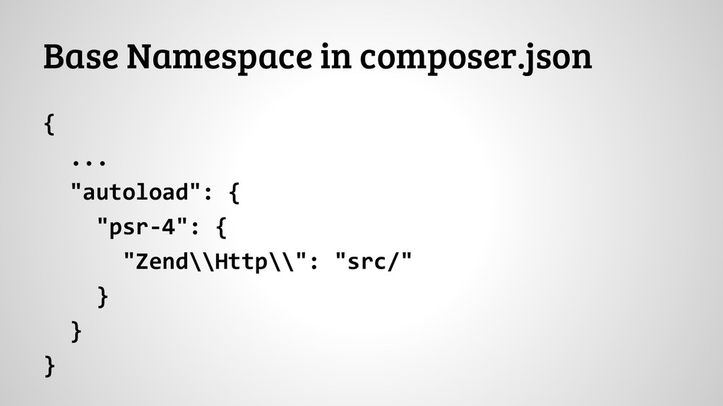 "Base Namespace in composer.json { ... ""autoload..."