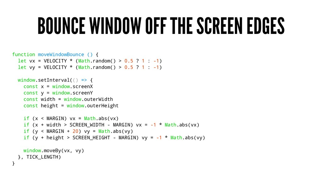 BOUNCE WINDOW OFF THE SCREEN EDGES function mov...
