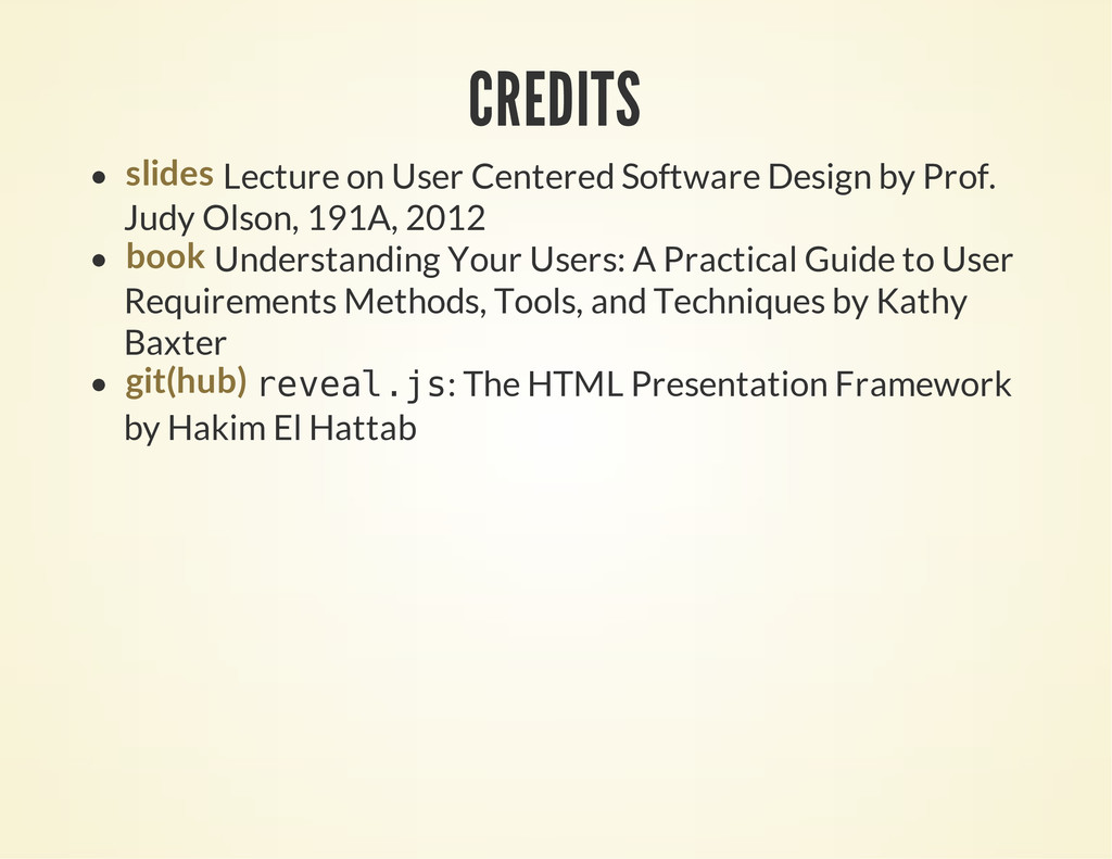 CREDITS Lecture on User Centered Software Desig...