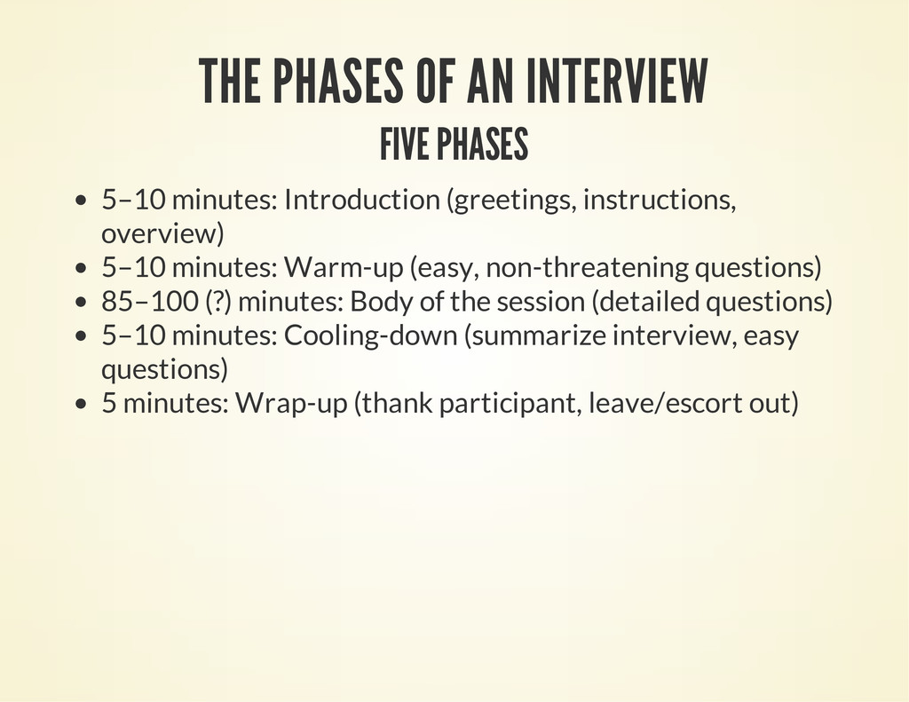 THE PHASES OF AN INTERVIEW FIVE PHASES 5–10 min...