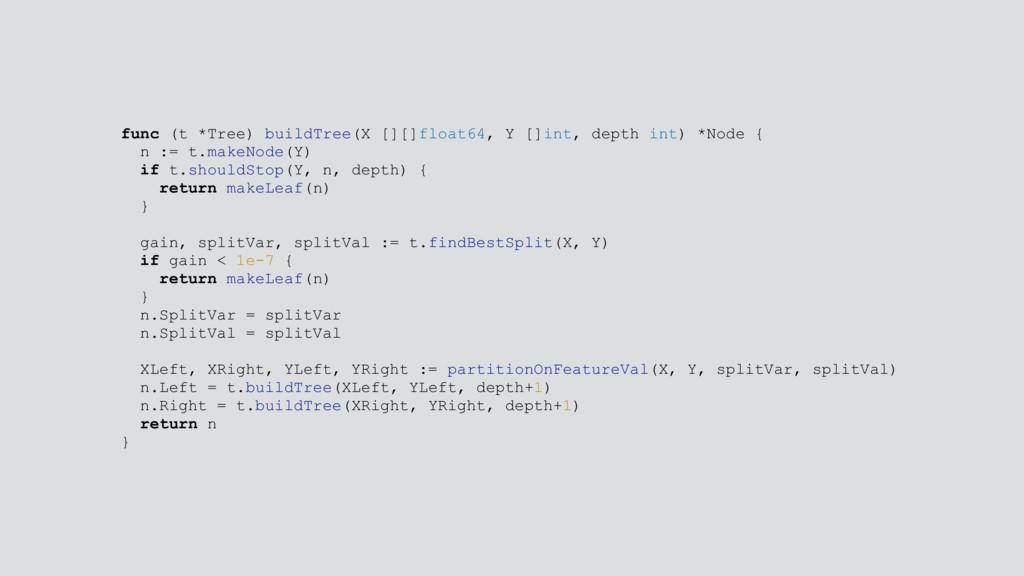 func (t *Tree) buildTree(X [][]float64, Y []int...