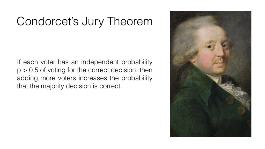 Condorcet's Jury Theorem If each voter has an i...