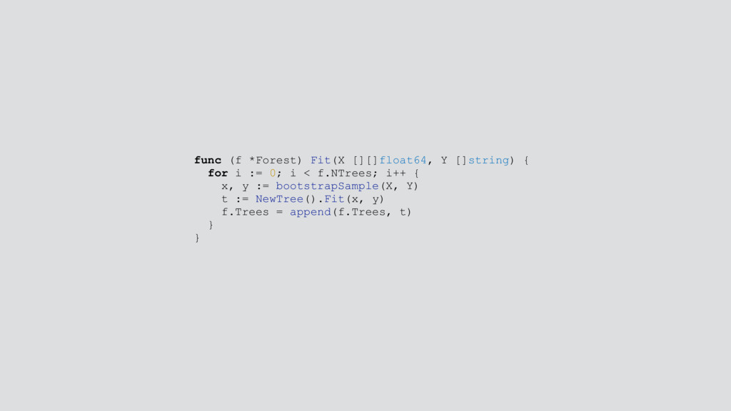 func (f *Forest) Fit(X [][]float64, Y []string)...