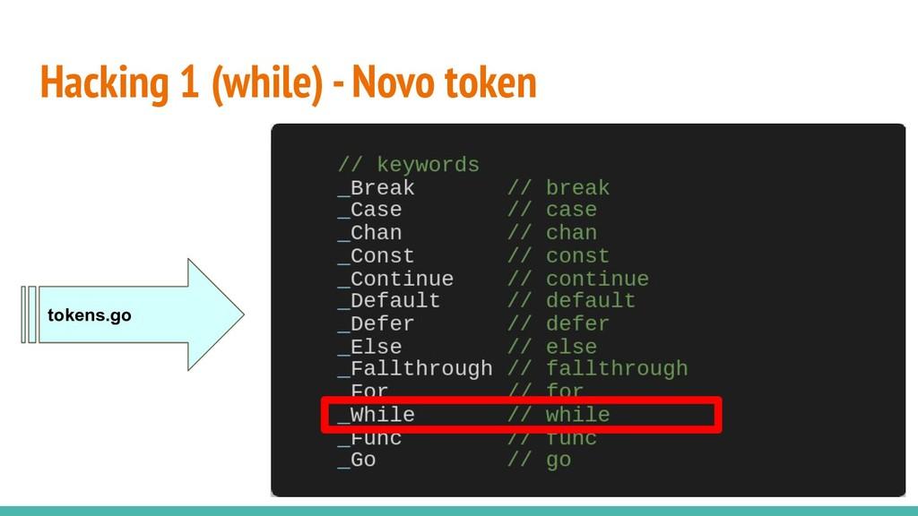 Hacking 1 (while) - Novo token tokens.go