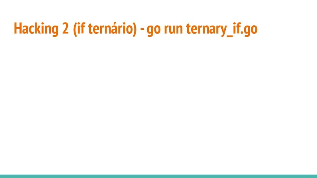 Hacking 2 (if ternário) - go run ternary_if.go