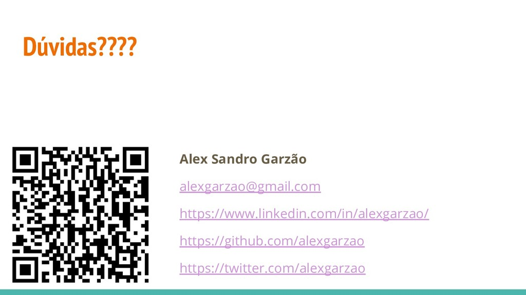Dúvidas???? Alex Sandro Garzão alexgarzao@gmail...