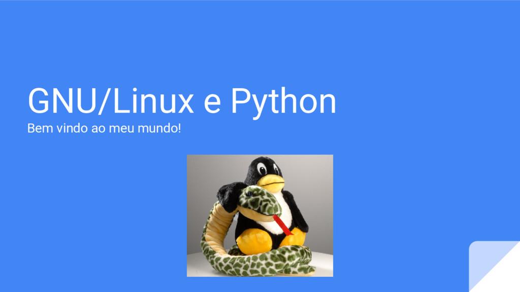 GNU/Linux e Python Bem vindo ao meu mundo!