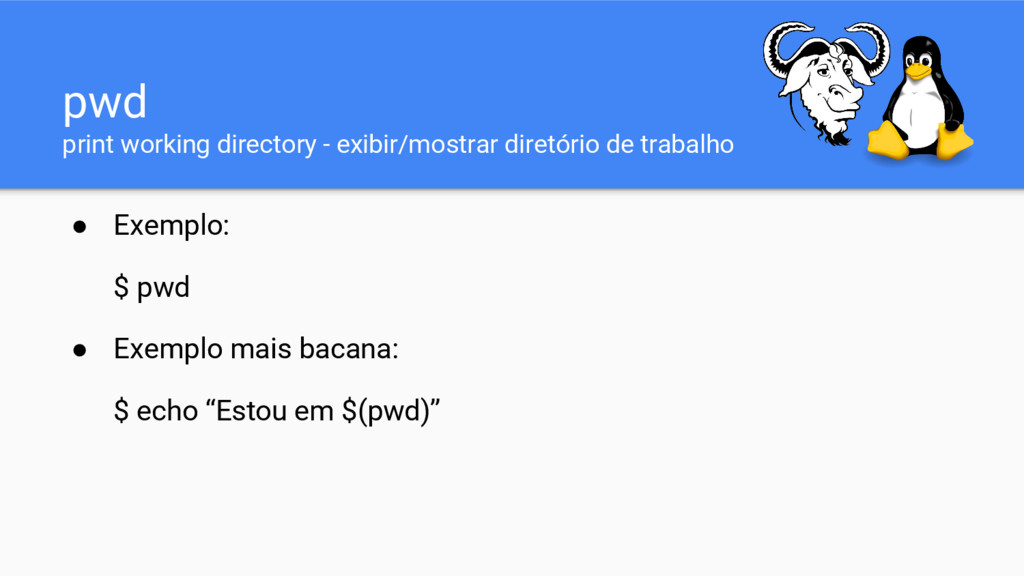 pwd print working directory - exibir/mostrar di...