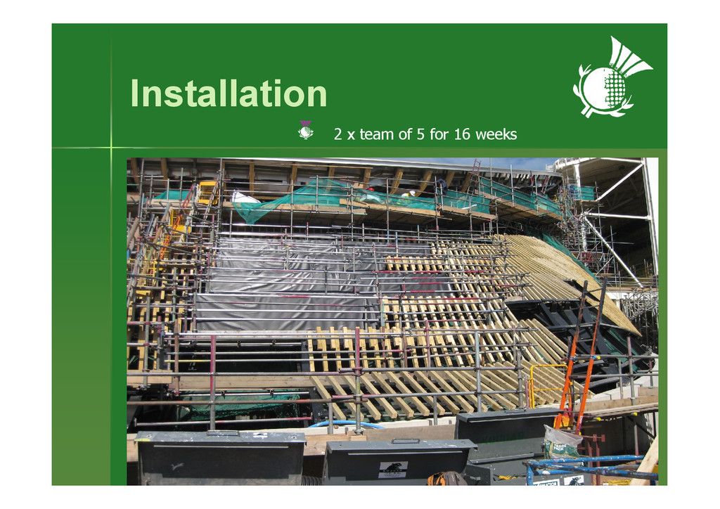 Installation 2 x team of 5 for 16 weeks