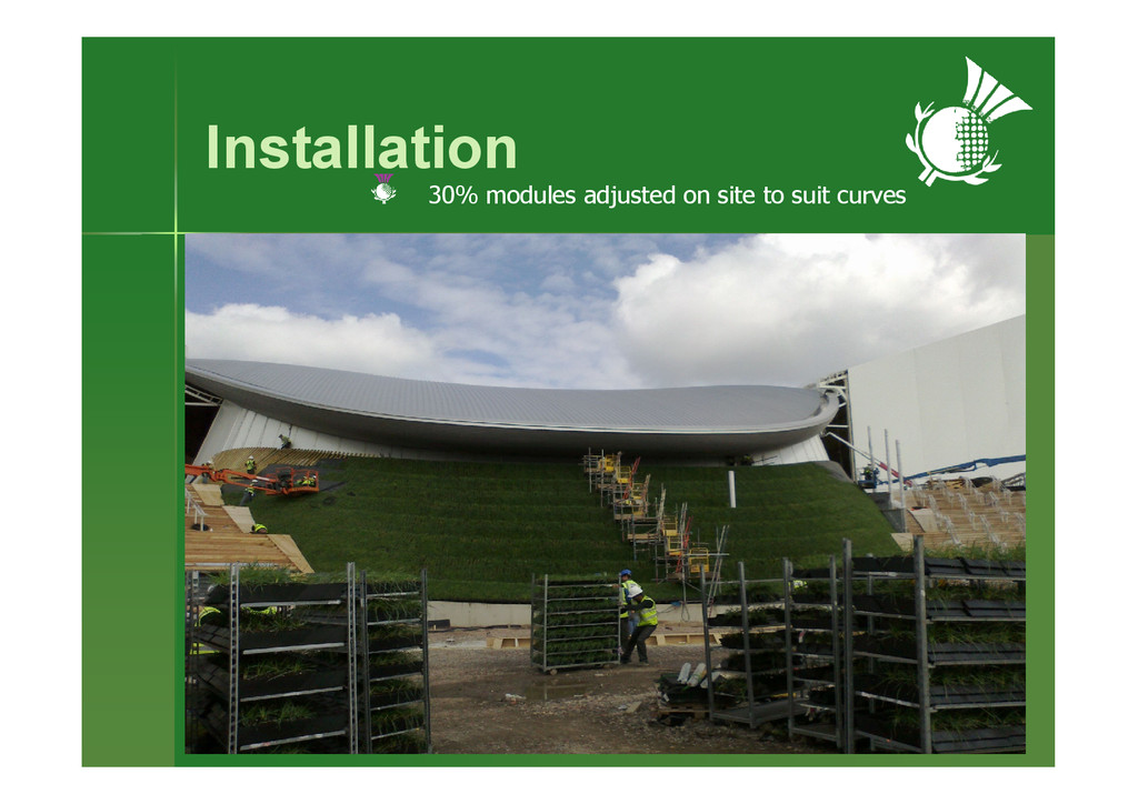 Installation 30% modules adjusted on site to su...