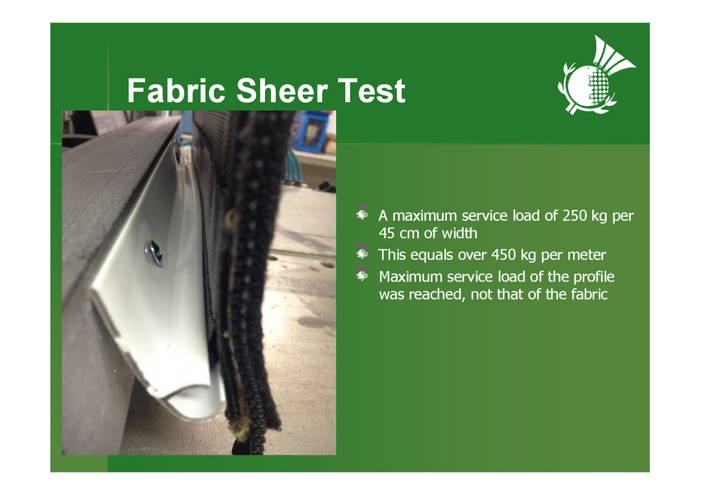 Fabric Sheer Test A maximum service load of 250...