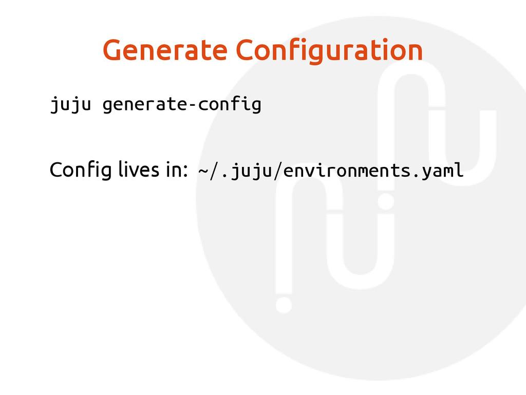 Generate Configuration juju generate-config Con...