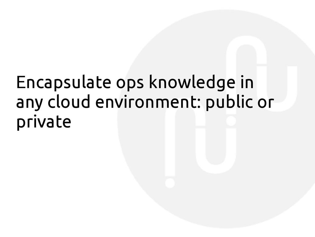 Encapsulate ops knowledge in any cloud environm...