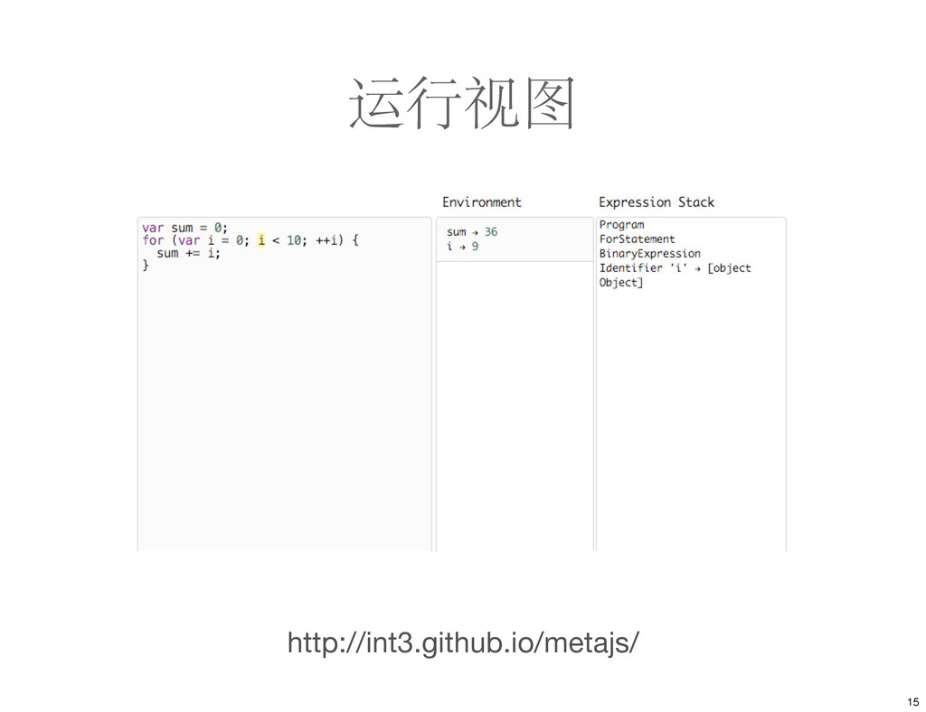 运行视图 http://int3.github.io/metajs/ 15