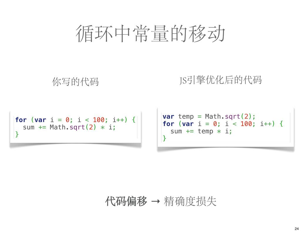 循环中常量的移动 你写的代码 JS引擎优化后的代码 for (var i = 0; i < 1...