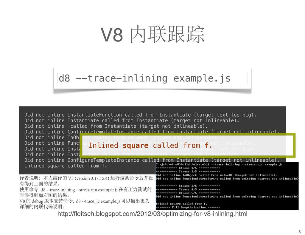 V8 内联跟踪 http://floitsch.blogspot.com/2012/03/opt...